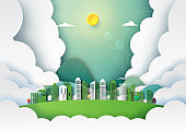 Paper art of nature landscape and green city background template.