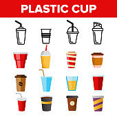 Disposable Plastic Cup Linear Vector Icons Set