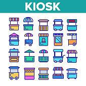 Kiosk, Market Stalls Types Linear Vector Icons Set