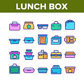 Lunch Box Collection Elements Icons Set Vector