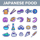 Japanese Food, Sushi Linear Vector Icons Set