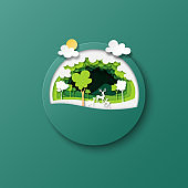 Green forest nature landscape and dees family paper art style.