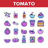 Tomato Vegetarian Food Collection Icons Set Vector