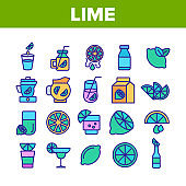 Lime Fruit Collection Elements Icons Set Vector