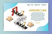 Isometric Automation abstract robotic assembly line set flat isolated vector illustration background banner