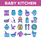 Baby Kitchen Collection Elements Icons Set Vector