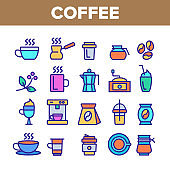 Color Coffee Equipment Sign Icons Set Vector