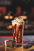 Glass of coffee latte