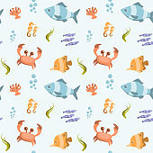 Seamless pattern with cartoon fishes and sea animals. Vector illustration.