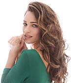 Fashion Models Beauty Portrait, Beautiful Woman Makeup Curly Hairstyle, Girl Long Hair over White