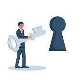 Businessman go to door with key vector