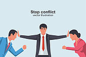 Stop conflict. Man and woman versus
