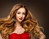 Fashion Models Hairstyle Beauty Portrait, Beautiful Woman Makeup and Long Brown Hair