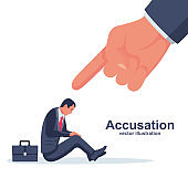 Accusation concept. Sad businessman. Human point fingers at the sad person