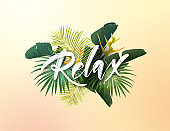 Summer tropical vector design for poster, banner or advertisment with exotic green palm leaves, flowers and handlettering on the bright background.