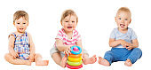 Baby Kids Sitting on White, Beautiful Toddler Children with Toy