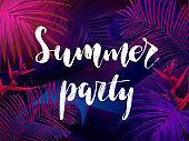 Dark blue and violet tropical party design with palm leaves and neon letters. Summer night vector illustration.