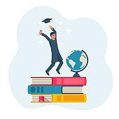 Graduation concept. Happy graduate guy throws up a graduate hat.