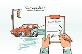 Insurance claim form sketch style. Accident concept.