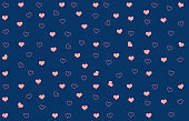 Abstract pattern with blue background and little pink hearts, some full color some outlined, scattered on the entire surface