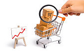 Magnifying glass is looking at the Supermarket cart with boxes and a graph with red arrow, merchandise: the concept of buying and selling goods and services, trade and turnover. Import and export