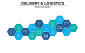 Set of Delivery and logistics web icons in line style. Courier, shipping, express delivery, tracking order, support, business. Vector illustration.