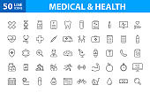 Set of 50 Medical and Health web icons in line style. Medicine and Health Care, RX, infographic. Vector illustration.