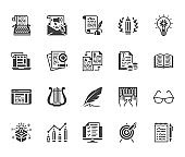 Copywriting flat glyph icons set. Writer typing text, social media content, e-mail newsletter, creative idea, typewriter vector illustrations. Writing signs. Solid silhouette pixel perfect 64x64