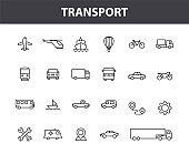 Set of 24 Transport web icons in line style. Train, Airplane, car, bus, helicopter, bike. Vector illustration.