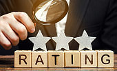 Wooden blocks with the word Rating, three stars and a magnifying glass in the hands of a businessman. The concept of quality of service. Hotel or restaurant rating. Evaluation of critics and visitors.