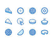 Pie flat line icons set. Ossetian, cherry, apple, pumpkin pies, casserole, pita vector illustrations. Thin signs for bakery. Pixel perfect 64x64. Editable Strokes
