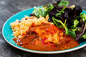 Basque Braised Chicken With Peppers and rice