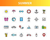 Set of 24 Summer and Holiday web icons in line style. Web and mobile icon. tourism, travel, holiday. Vector illustration.