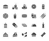 Junk food flat glyph icons set. Burger, fast snacks, sandwich, french fries, hot dog, mexican burrito, pizza vector illustrations. Signs for restaurant menu. Solid silhouette pixel perfect 64x64