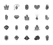 Crystals flat glyph icons set. Mineral rock, diamond shape, salt, abstract gemstone, magic crystal vector illustrations. Signs for geology or jewelry store. Solid silhouette pixel perfect 64x64