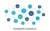 Concept Business and Finance web icons in line style. Money, dollar, infographic, banking. Digital network, social media. Vector illustration.