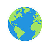 Flat planet Earth icon. Illustration of a world globe isolated on a white background.