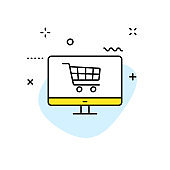 E-commerce and shopping web icons in line style. Mobile Shop, Digital marketing, Bank Card, Gifts. Vector illustration.