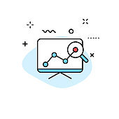 Data Analysis web icons in line style. Graphs, Analysis, Big Data, growth, chart, research. Vector illustration.