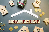 Table with wooden houses, calculator, coins, magnifying glass with the word Insurance on wooden blocks. The concept of property insurance and housing. Accumulation of money for home insurance, health.