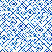 Fabric seamless pattern with textile mesh texture, blue on white background. Simple wallpaper doodle grid, grunge canvas backdrop, monochrome design element