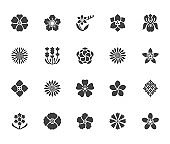 Flowers flat glyph icons. Beautiful garden plants - sunflower, poppy, cherry flower, lavender, gerbera, plumeria, hydrangea blossom. Signs for floral store. Solid silhouette pixel perfect 64x64