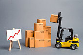 Yellow Forklift truck with cardboard boxes and a red arrow up. Increase sales, production of goods. Improving consumer sentiment, Production growth, business promotion on foreign markets.
