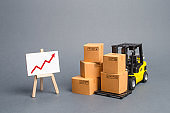 Yellow Forklift truck with cardboard boxes and a red arrow up. Increase sales, production of goods. Improving consumer sentiment, Acceleration of economic growth, business promotion on foreign markets