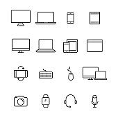 Big set of electronic devices in line design. Compact personal computer, smartphone, mobile phone, laptop. Vector Illustration.