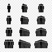 Teamwork icons in line style. Set of Team Work, people, support, business. Vector illustration.