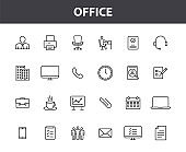 Set of 24 Office web icons in line style. Teamwork, workplace, coffee, work, business, employee. Vector illustration.