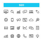 Set of 24 SEO and Development web icons in line style. Contact, Target, Website. Vector illustration.