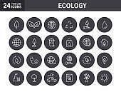 Set of Ecology web icons in line style. Electric Car, Organic, environmental energy. Vector illustration.