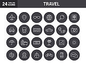 Set of Travel web icons in line style. Transport, Luggage, food, navigation, holiday. Vector illustration.
